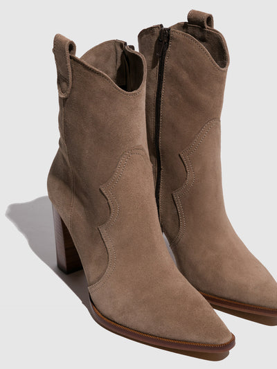 Foreva Beige Zip Up Ankle Boots