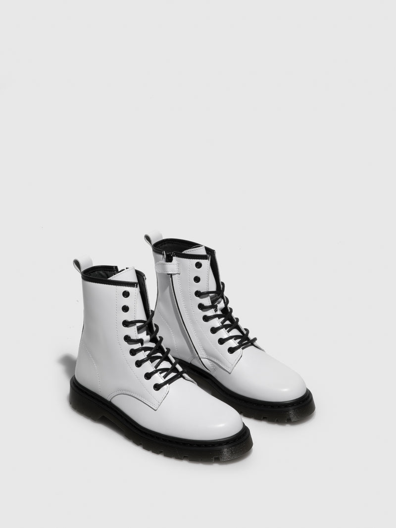 Foreva White Lace-up Boots