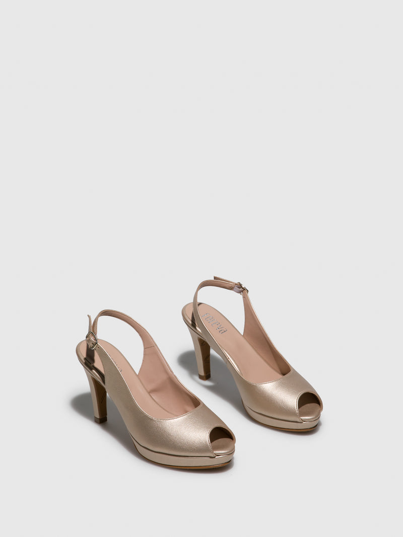 Gold Sling-Back Pumps Sandals