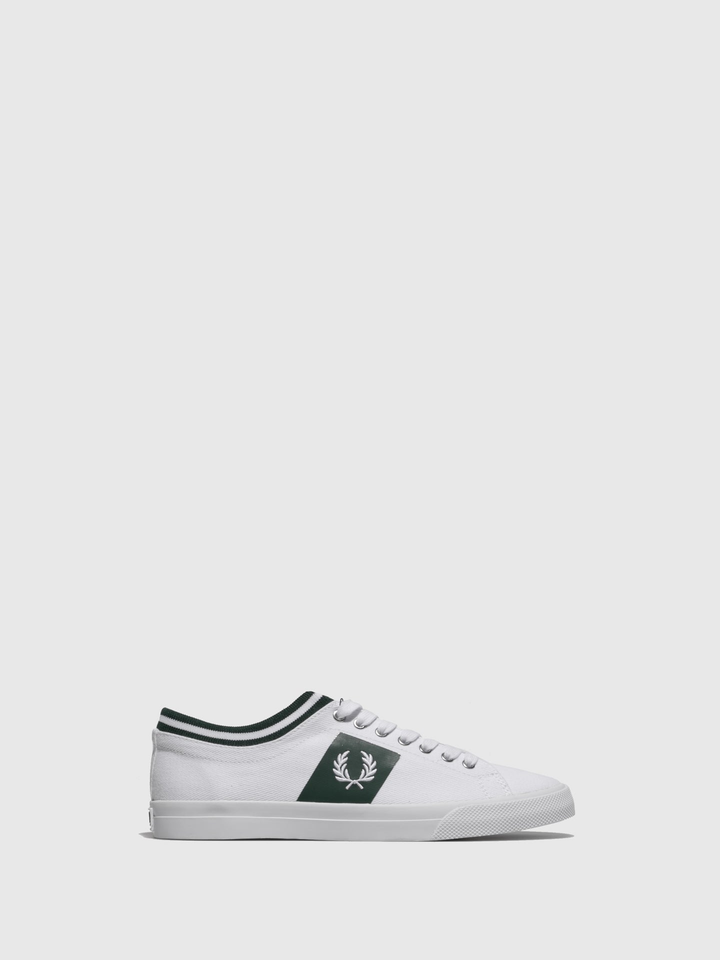 Fred Perry Green White Lace-up Trainers