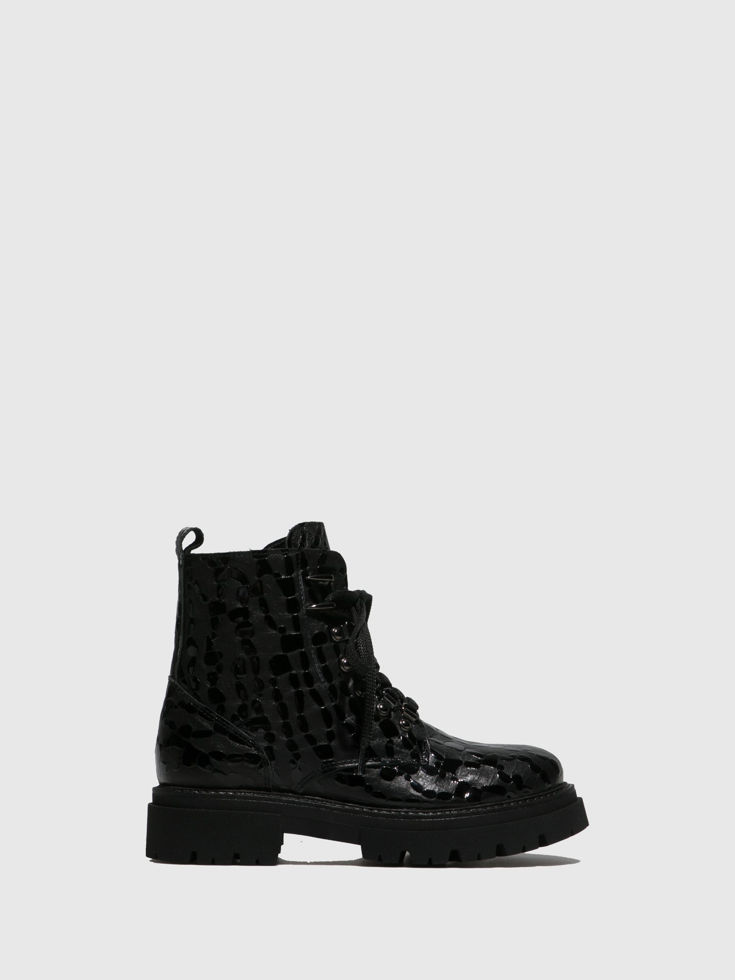 Fungi Gloss Black Lace-up Boots