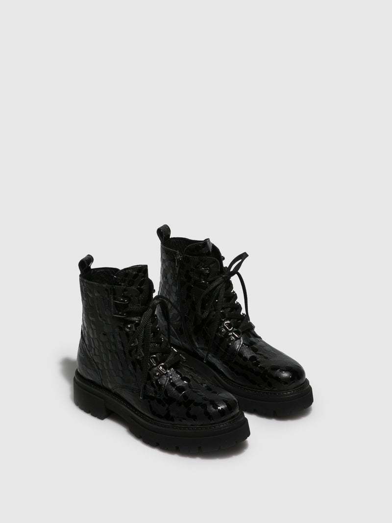 Gloss Black Lace-up Boots