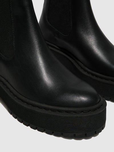 Fungi Black Elasticated Ankle Boots