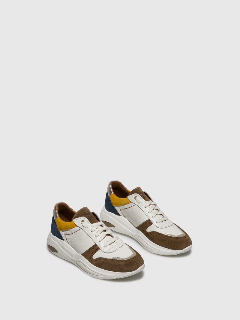 Brown White Lace-up Trainers