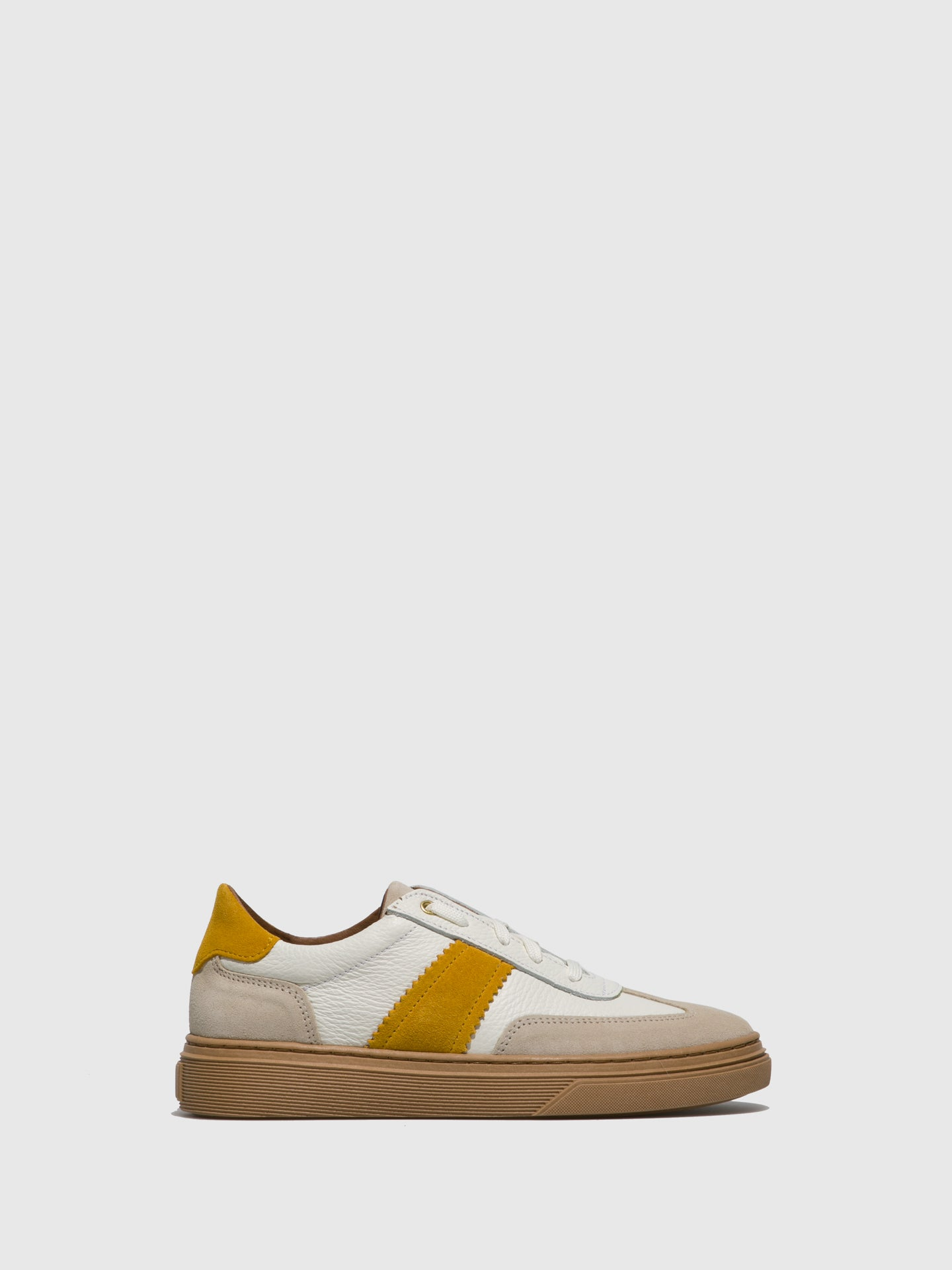Fungi Yellow White Lace-up Trainers