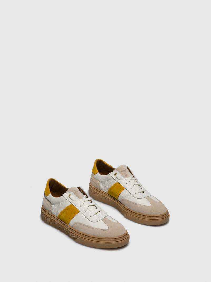 Yellow White Lace-up Trainers