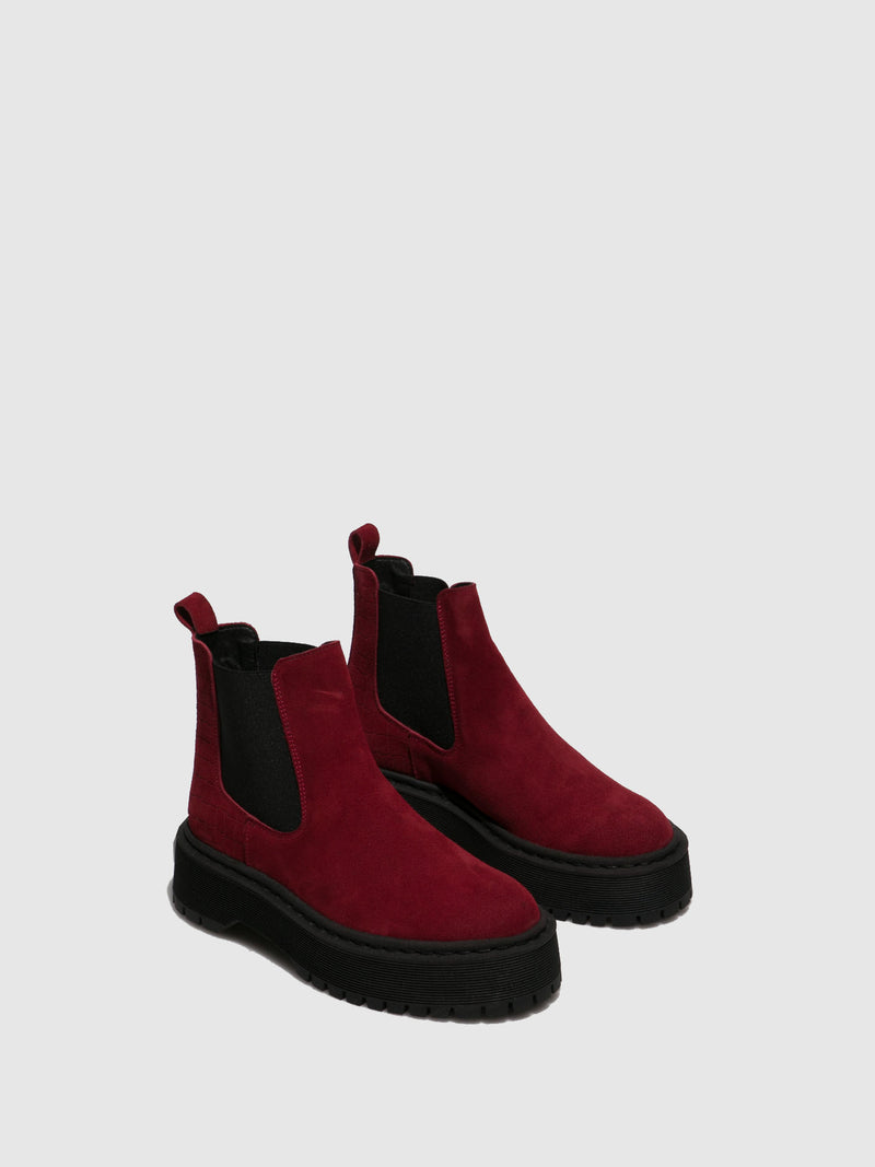 Red Elasticated Ankle Boots