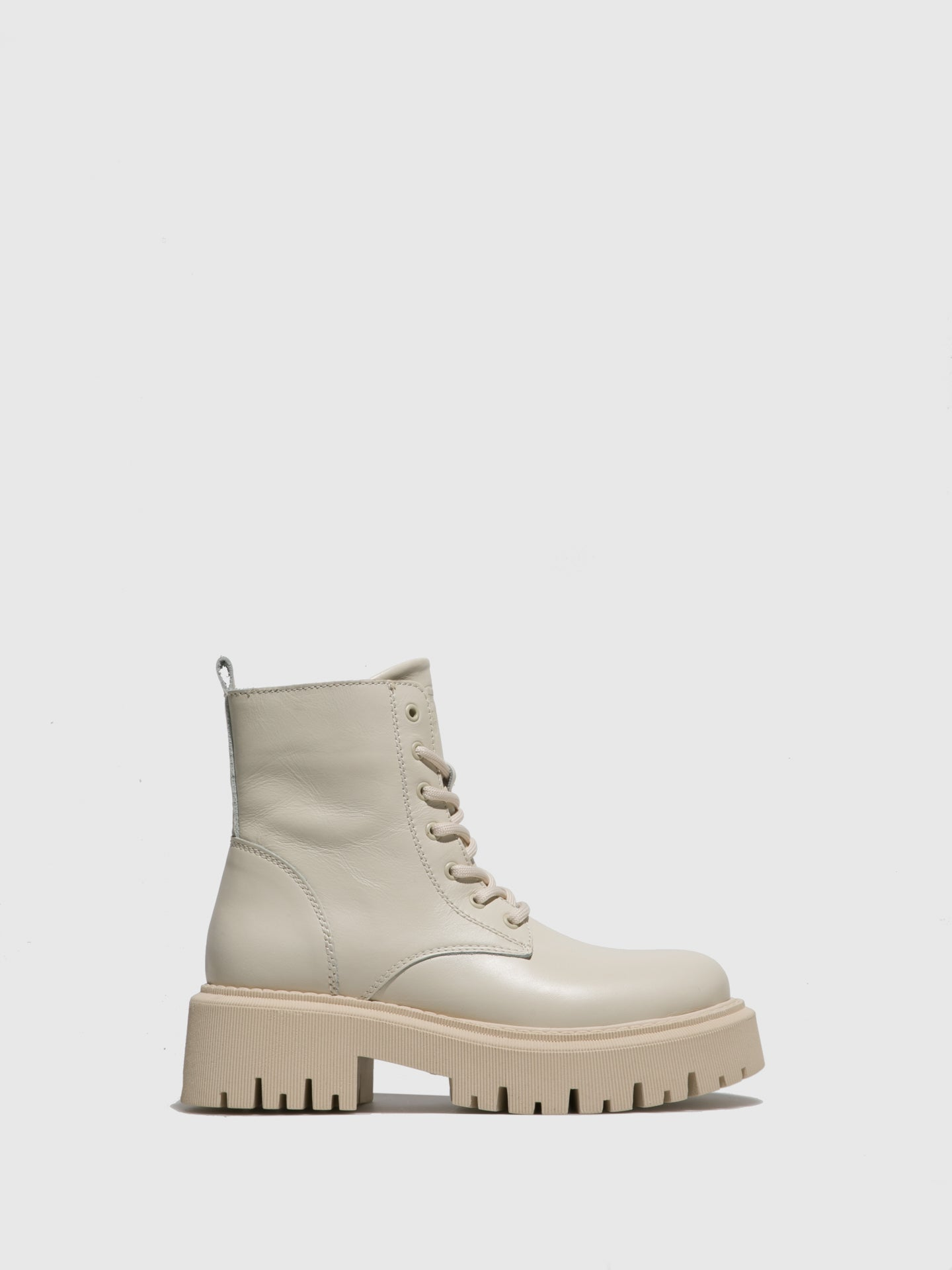 Fungi Beige Lace-up Ankle Boots