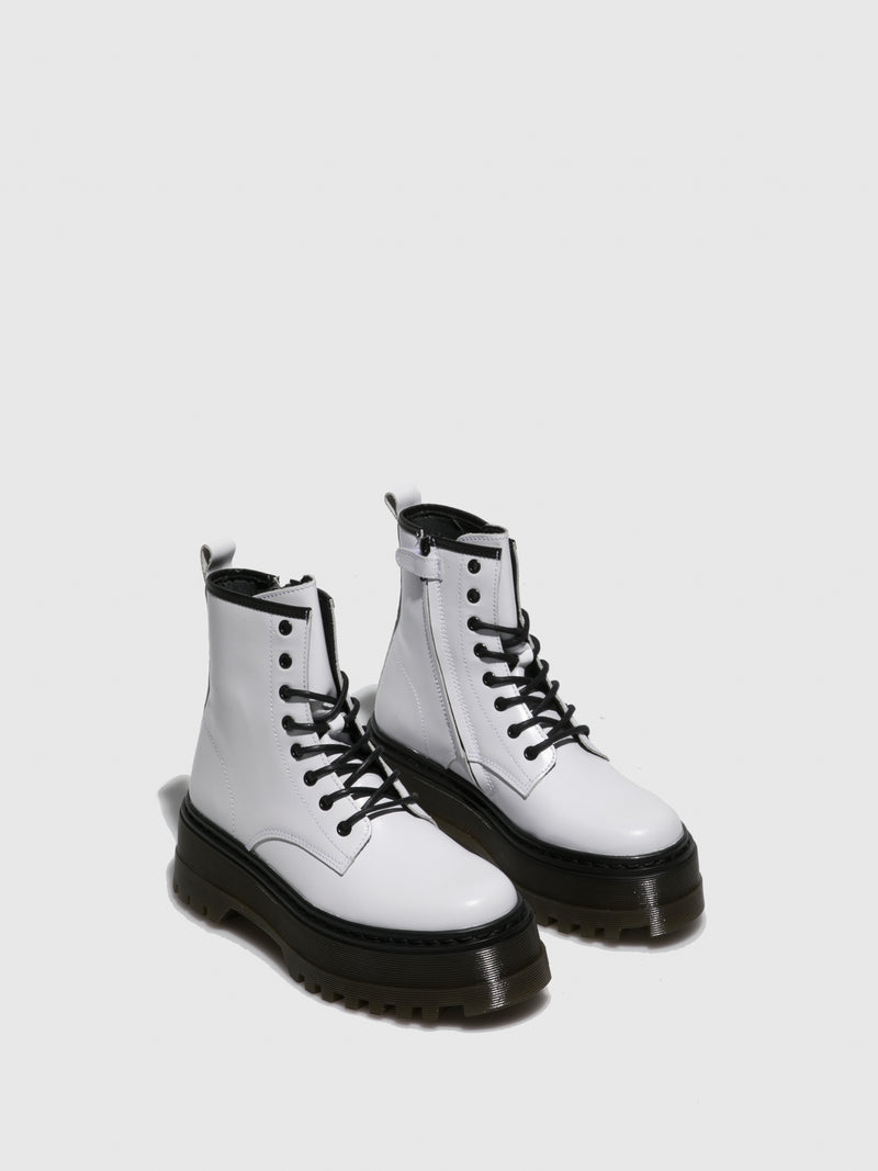 Fungi White Lace-up Boots