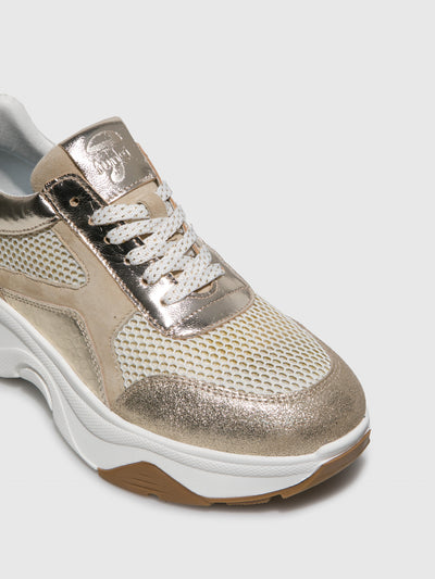 Fungi Gold Wedge Trainers