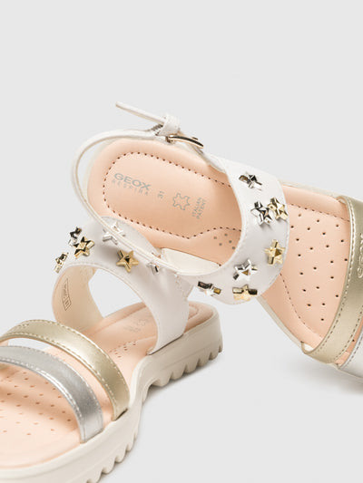 Geox White Appliqués Sandals