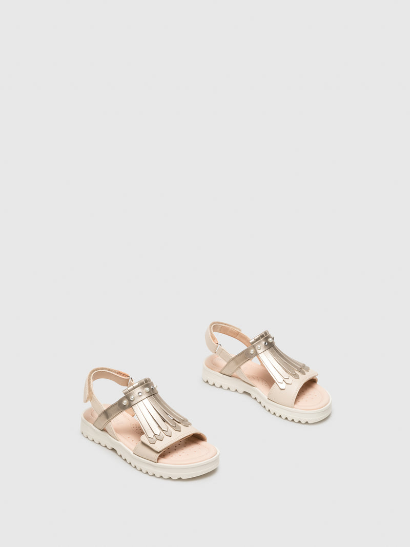 Beige Appliqués Sandals