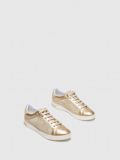Geox Gold Lace-up Trainers