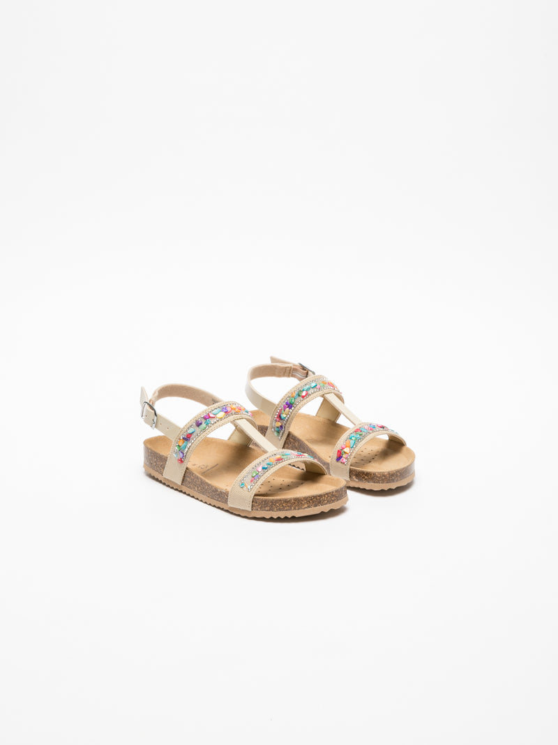 Geox Beige Appliqués Sandals