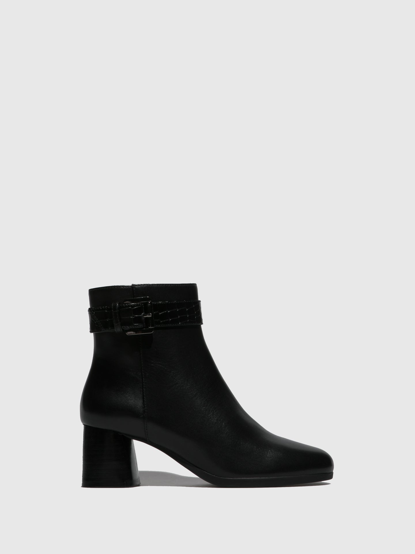 Geox Black Buckle Ankle Boots