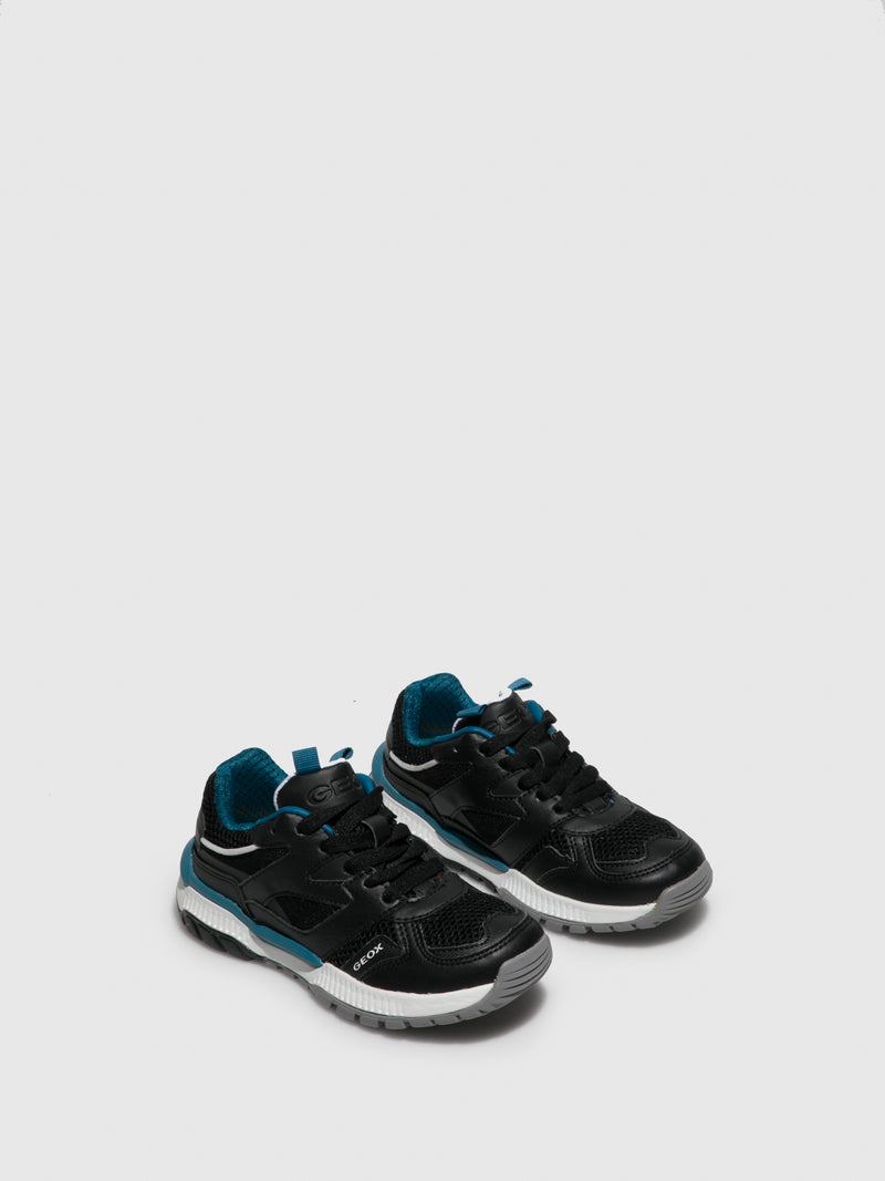 Geox Coal Black Lace-up Trainers