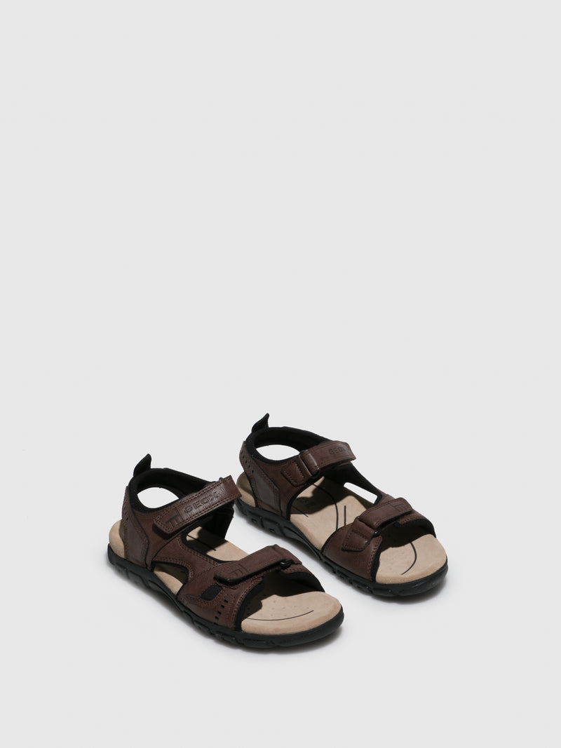 SaddleBrown Crossover Sandals