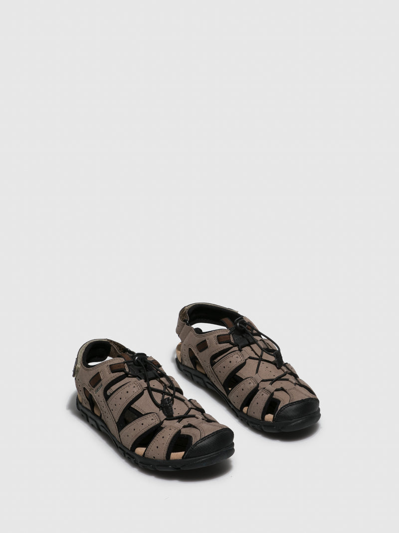 Brown Crossover Sandals