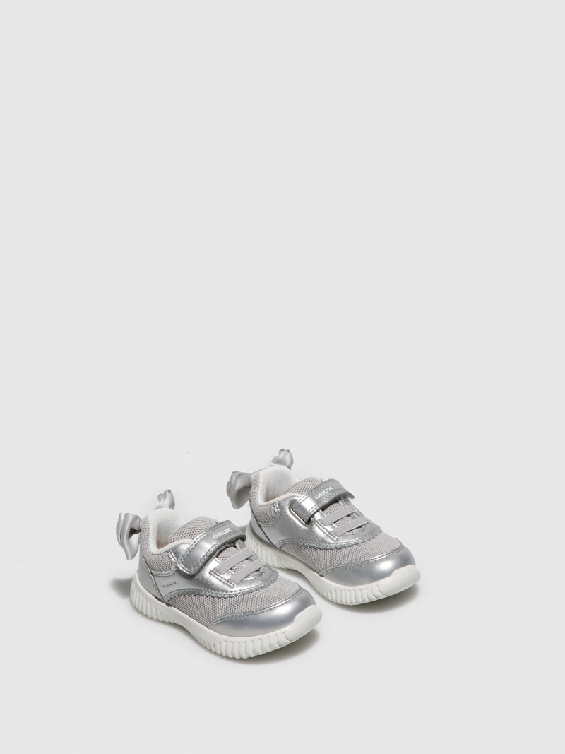 Geox Silver Velcro Trainers