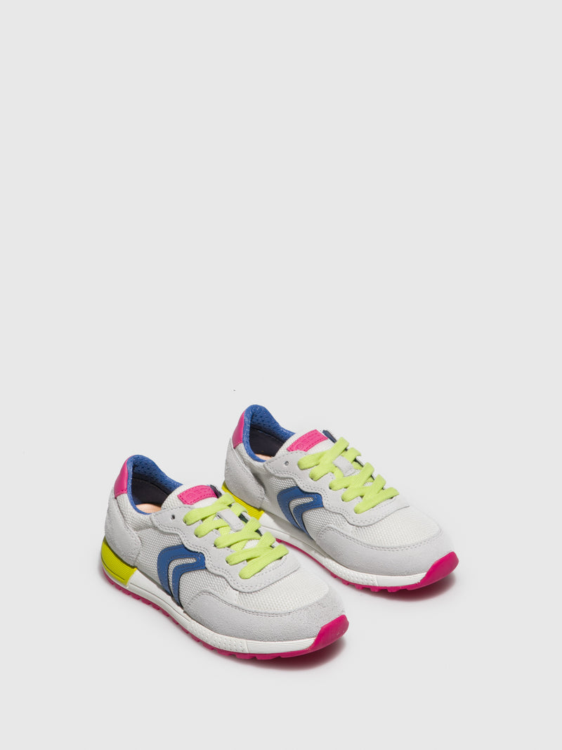 Geox Pink White Lace-up Trainers