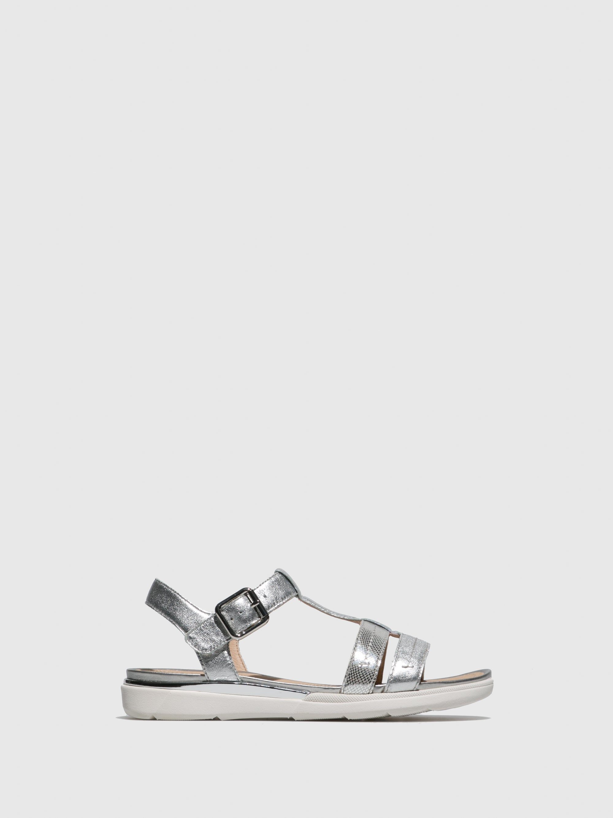 Geox Silver Ankle Strap Sandals