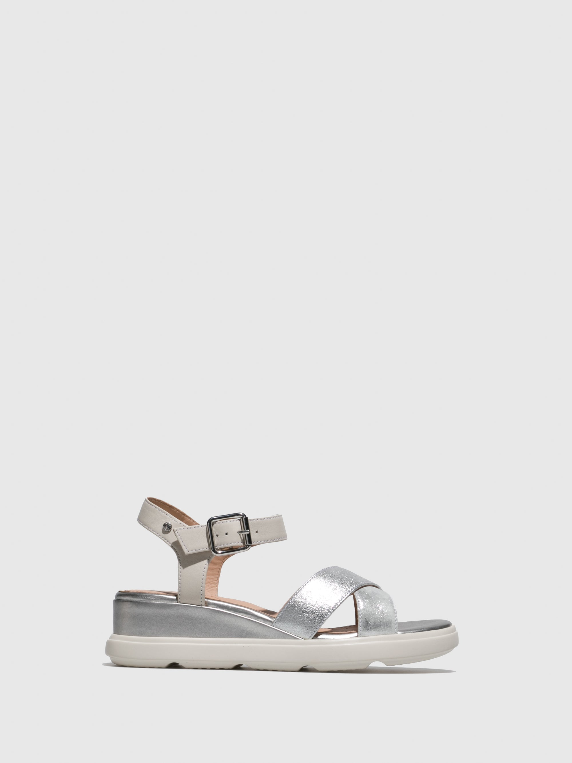 Geox Silver Wedge Sandals