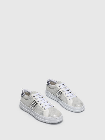 Geox Silver Lace-up Trainers