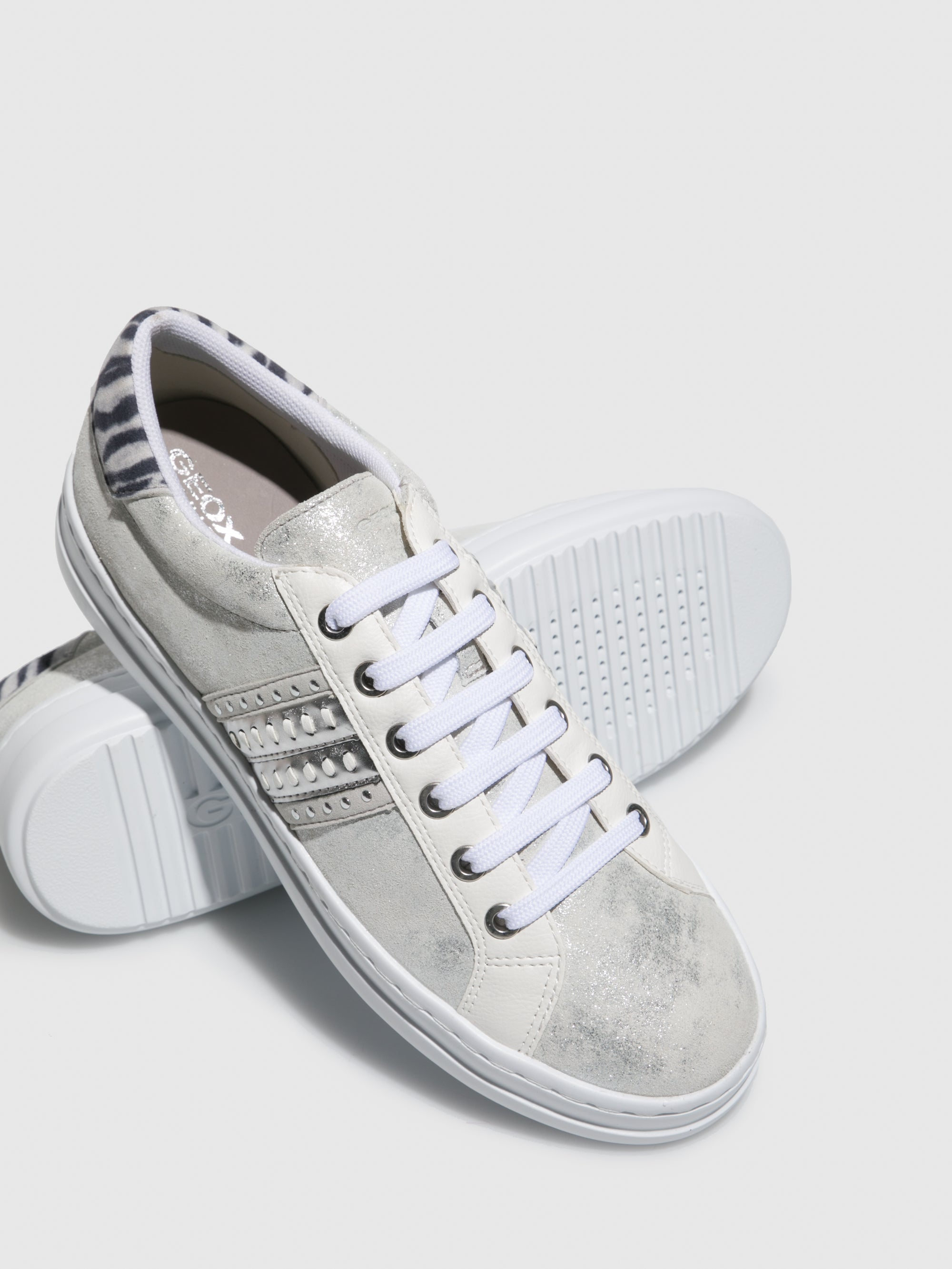 Silver Lace-up Trainers - Overcube