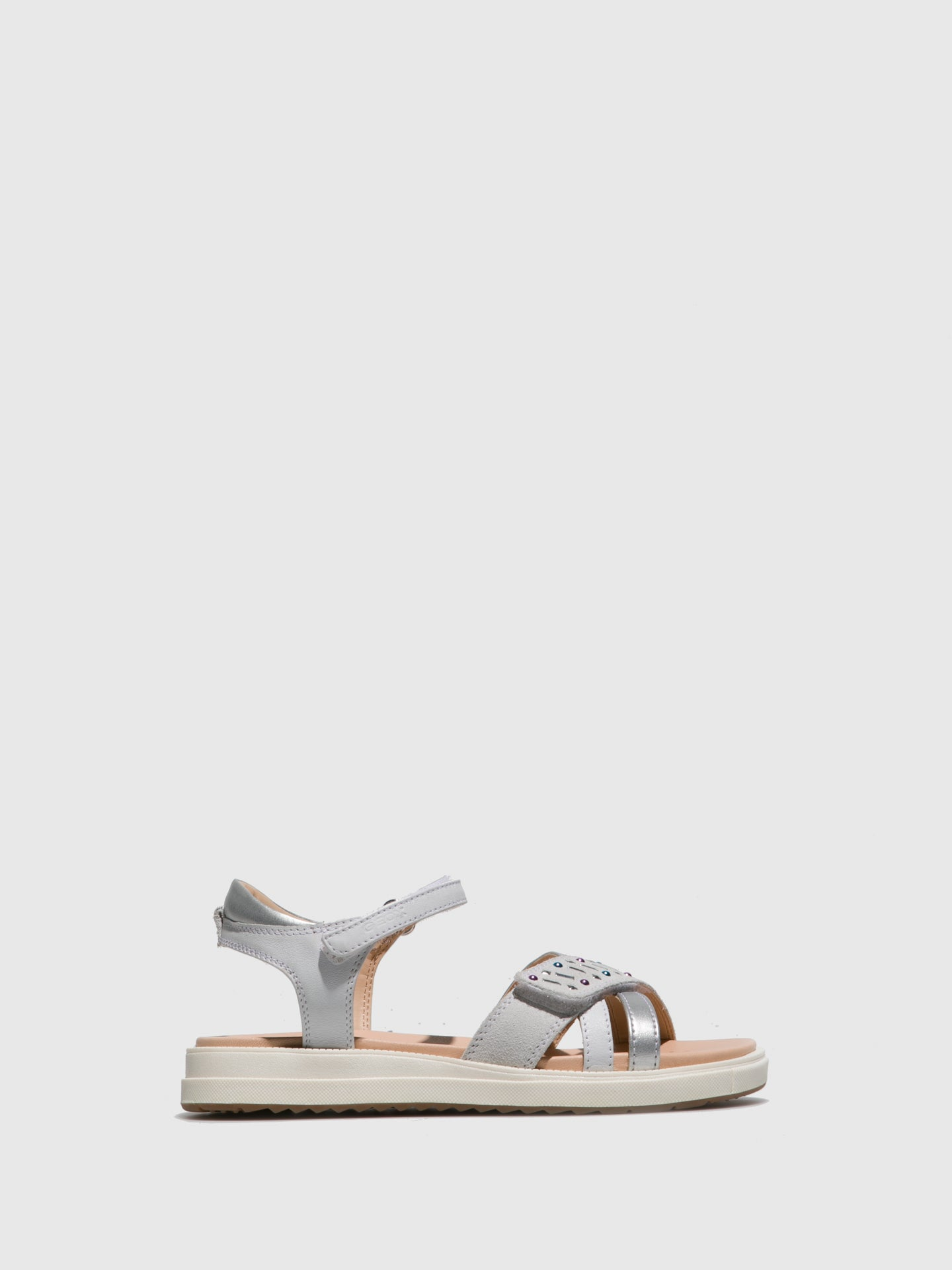 Geox White Ankle Strap Sandals