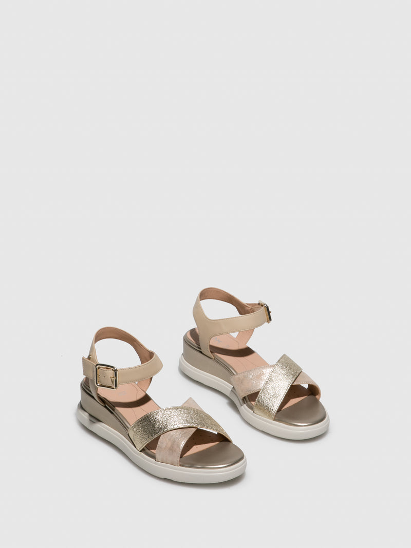 Geox Gold Wedge Sandals