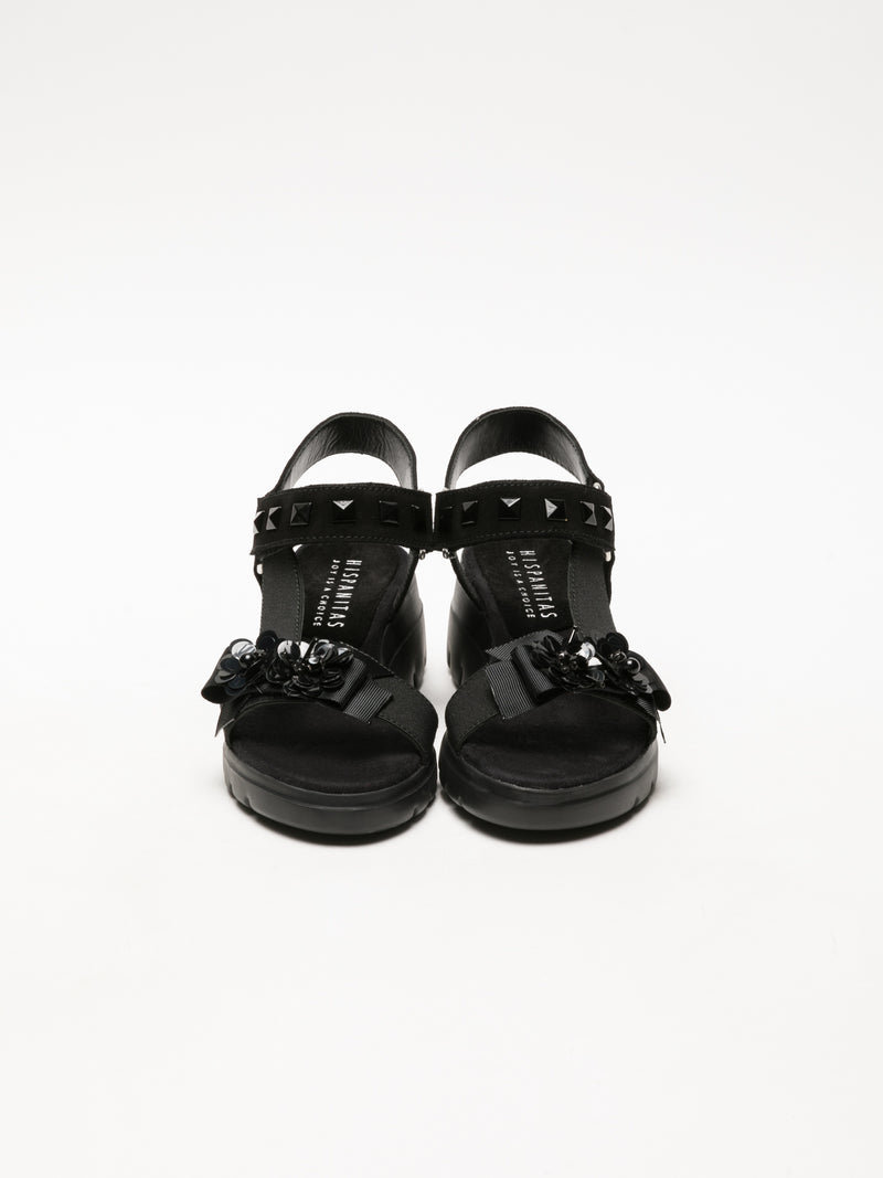Hispanitas Black Appliqués Sandals