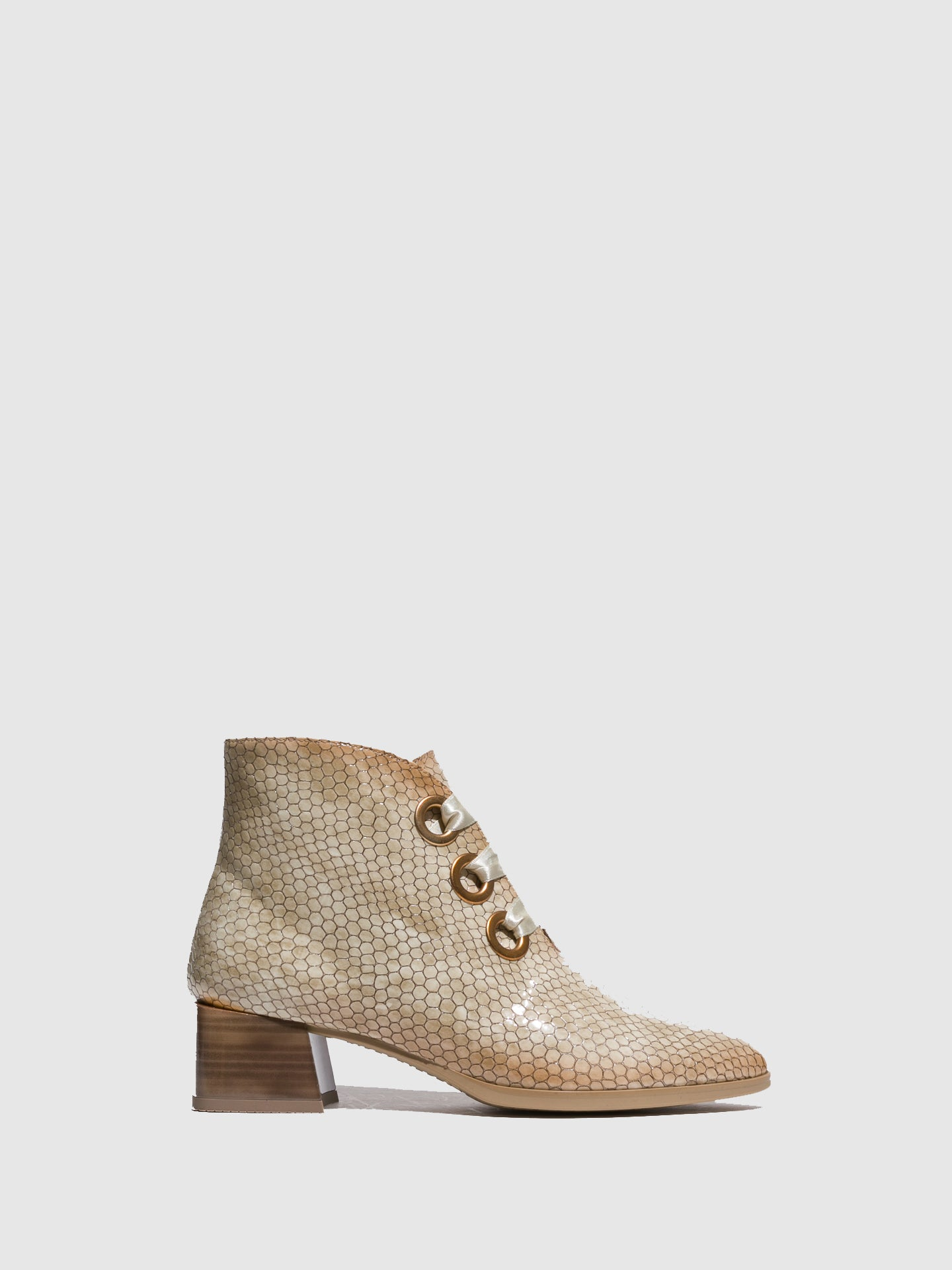 Hispanitas Beige Lace-up Ankle Boots
