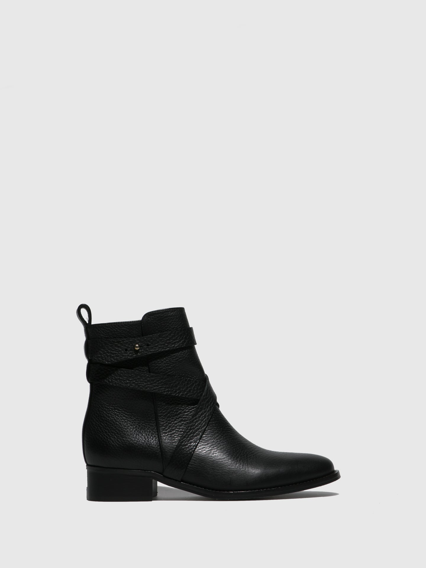 JJ Heitor Black Zip Up Ankle Boots