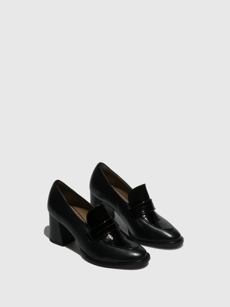JJ Heitor Black Chunky Heel Shoes