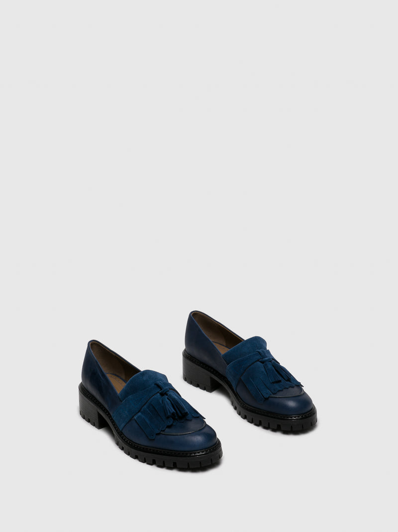 JJ Heitor Navy Leather Loafers Shoes