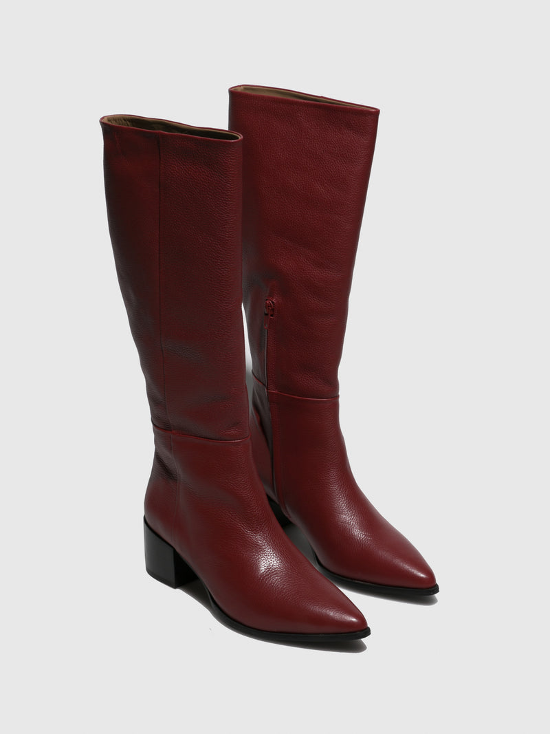 DarkRed Zip Up Boots