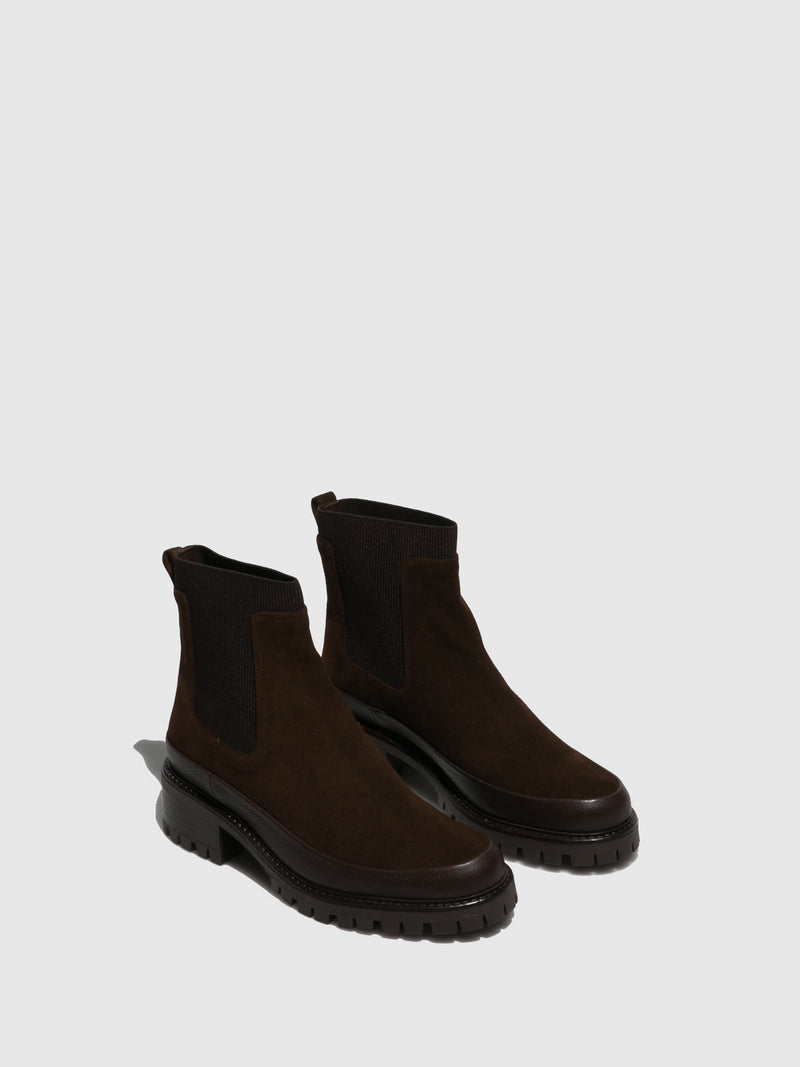 Brown Leather Elasticated Ankle Boots