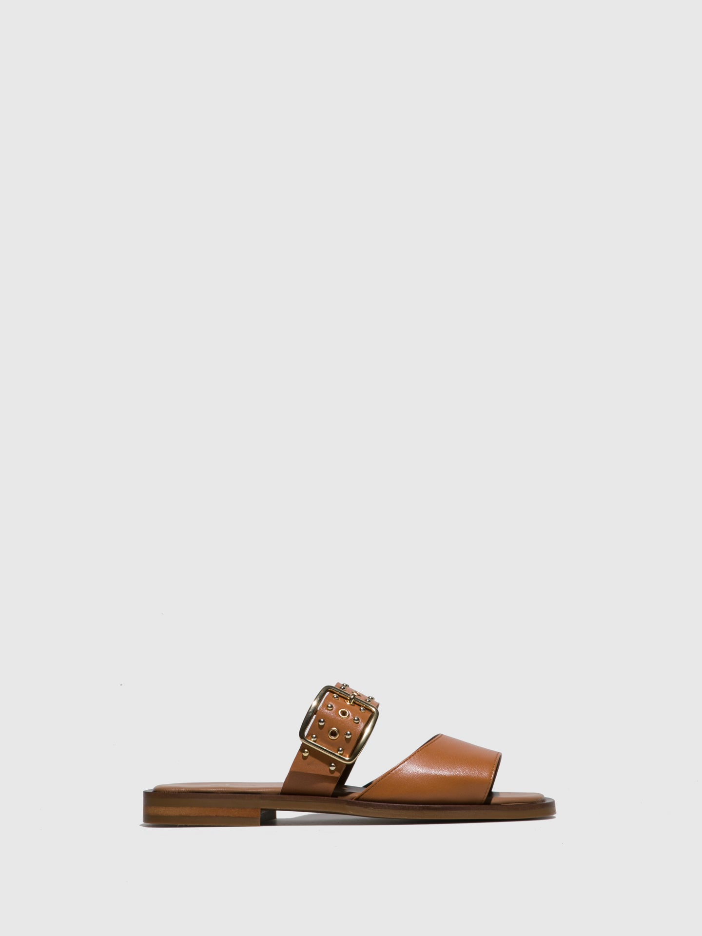 JJ Heitor Camel Leather Flat Sandals