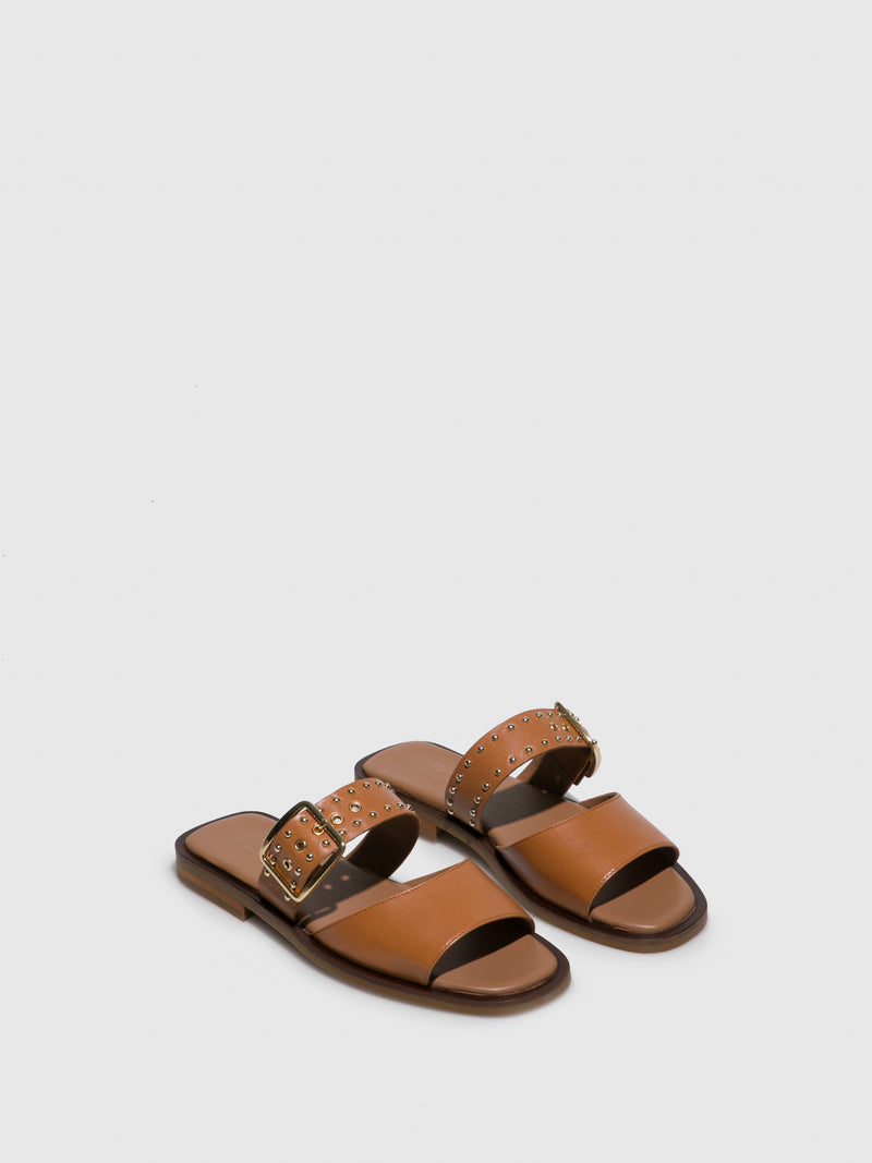 Camel Leather Flat Sandals