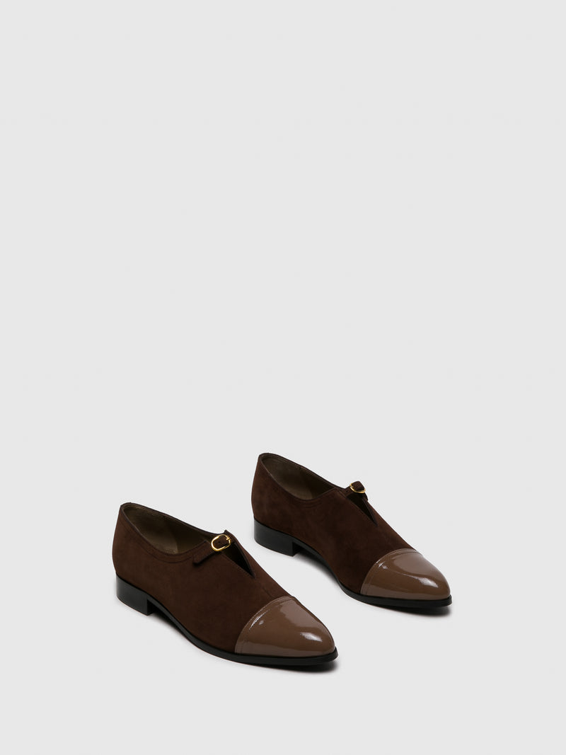 Brown Suede Pointed Toe Shoes