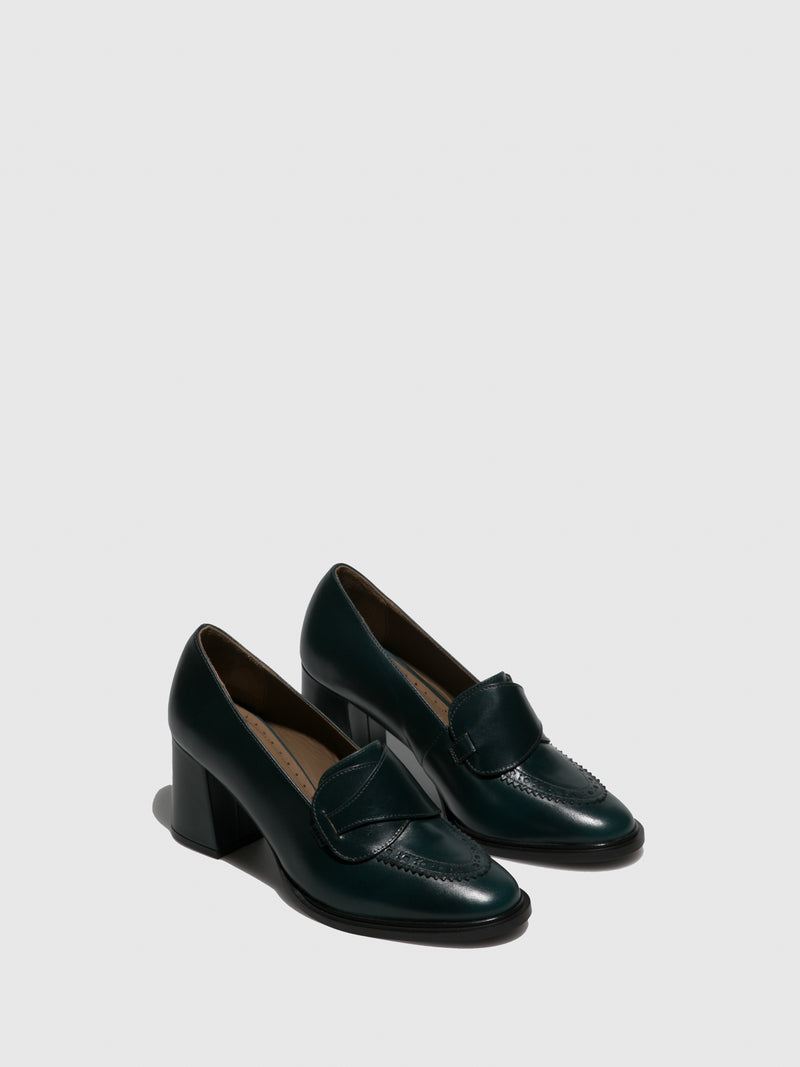 JJ Heitor DarkGreen Leather Chunky Heel Shoes
