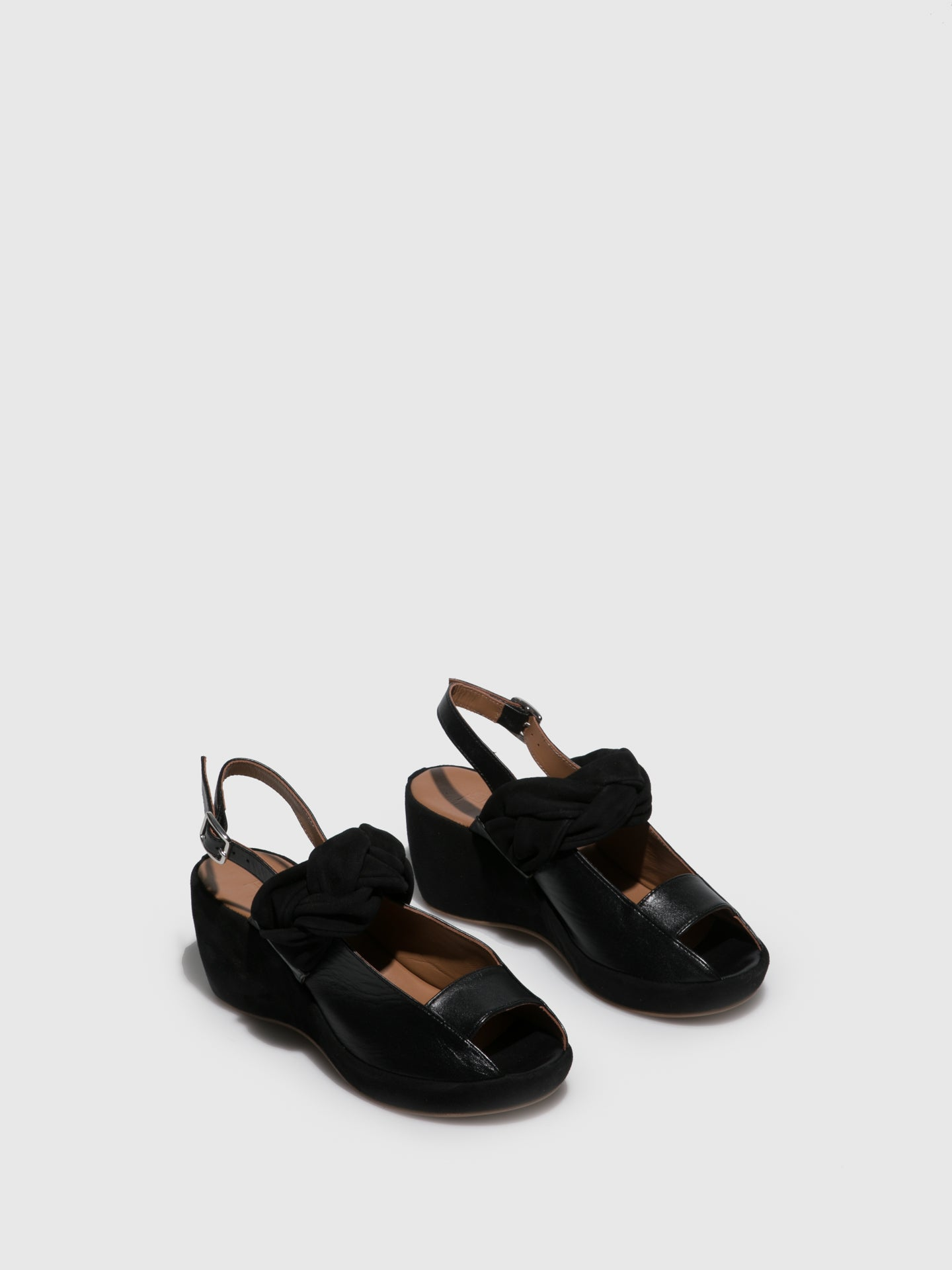 JJ Heitor Black Leather Wedge Sandals