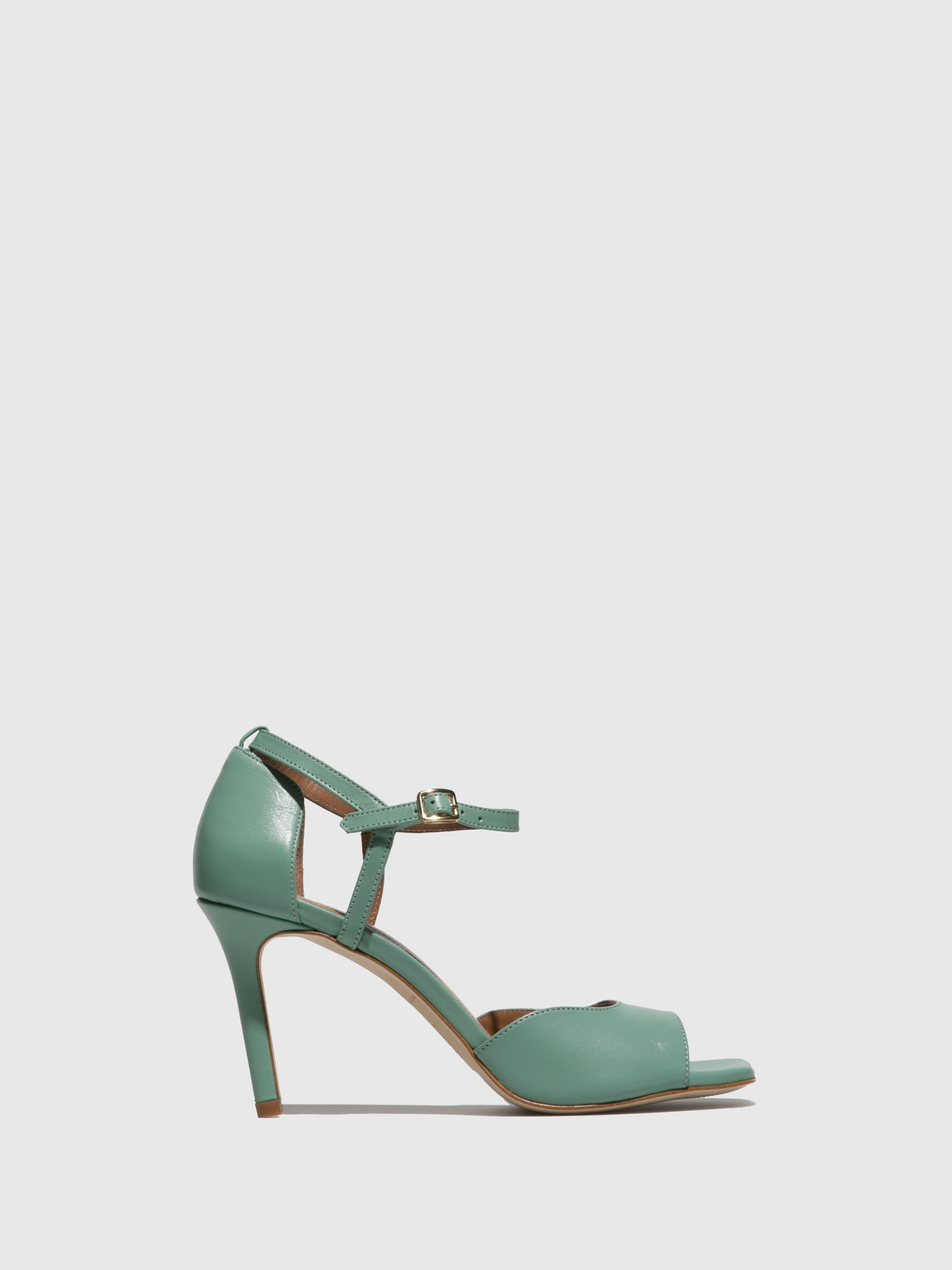 JJ Heitor Green Leather Heel Sandals