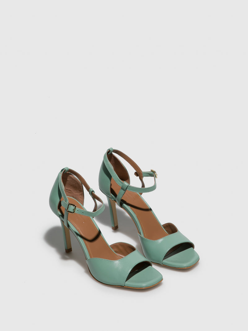 Green Leather Heel Sandals
