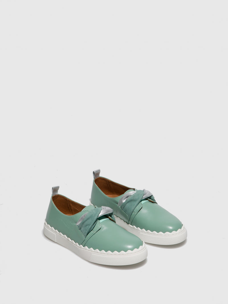 Green Leather Slip-on Shoes