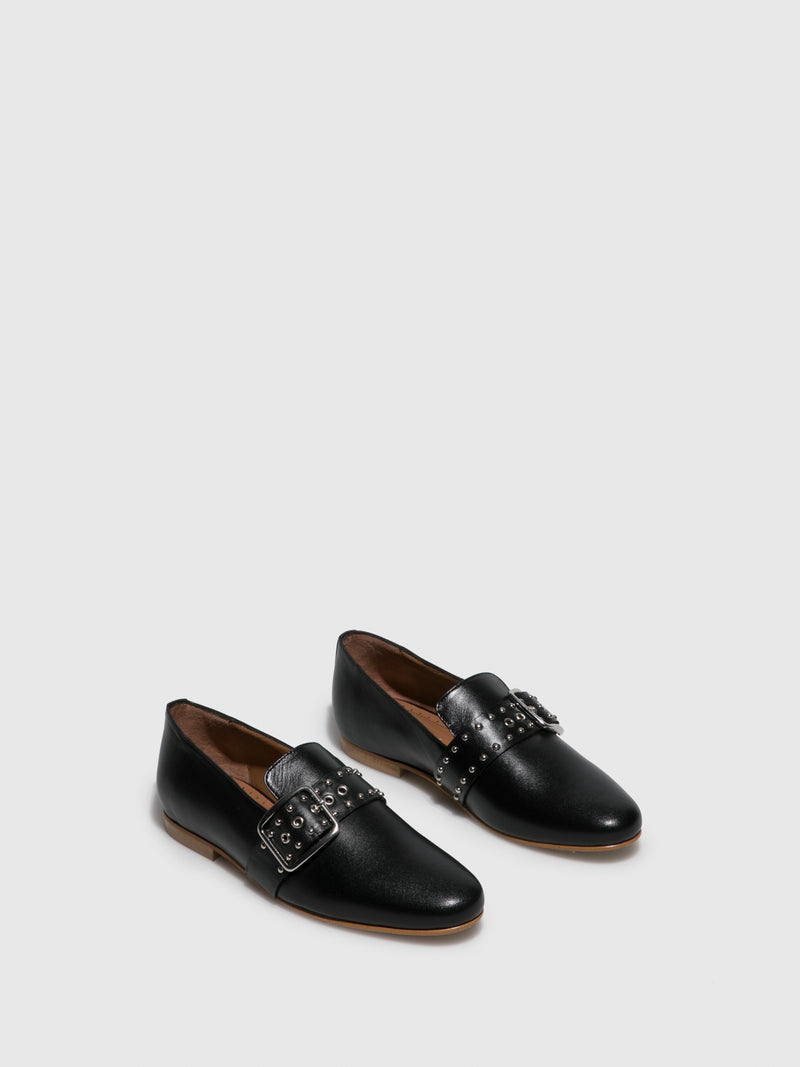 Black Leather Loafers Shoes