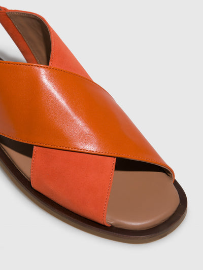 JJ Heitor Orange Leather Flat Sandals