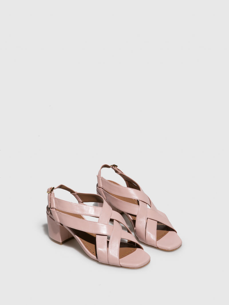 JJ Heitor Pink Leather Heel Sandals