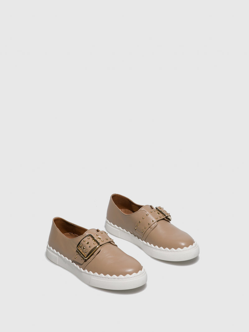 Beige Leather Slip-on Shoes