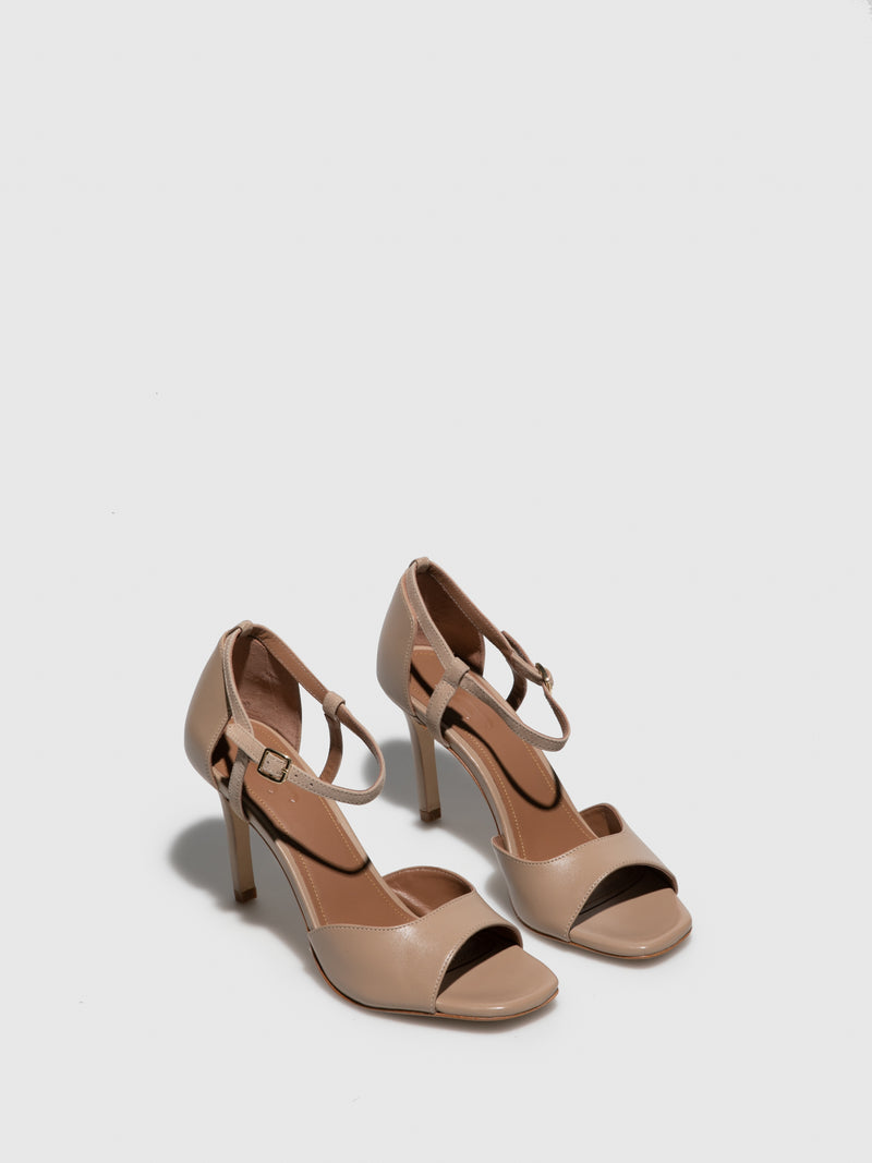 JJ Heitor Beige Leather Heel Sandals